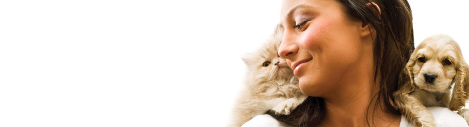 General Image - Woman with Kitten and Puppy